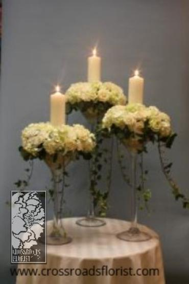Bridal candles elevated centerpiece