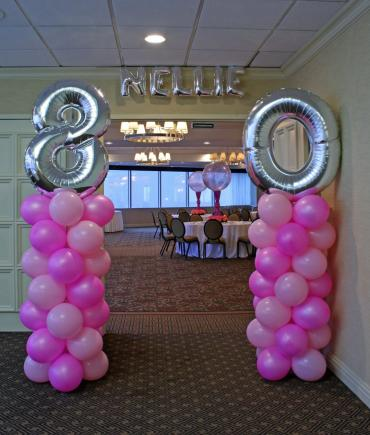 80 in pinks balloon columns
