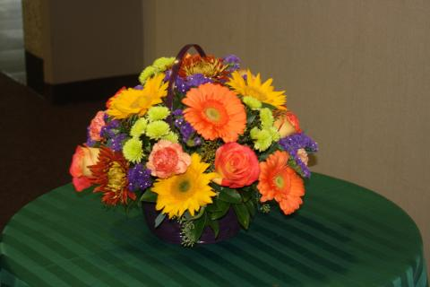 Autumn blooms basket