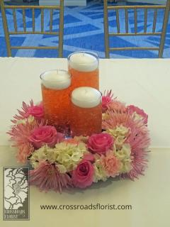 Pink & Coral Floating Candle Centerpiece