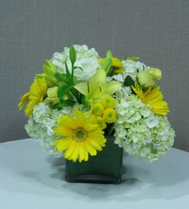 yellow & white cube centerpiece