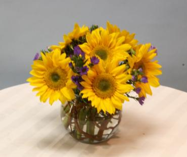 "6"" bubble bowl sunflower centerpiece"