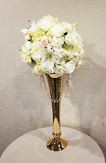 round ball centerpiece with gold vase