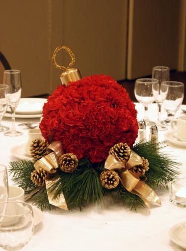 Carnation Christmas Ball Centerpiece