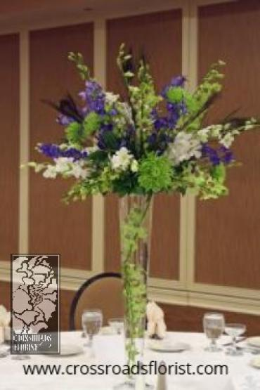 Blue & green peacock elevated centerpieces