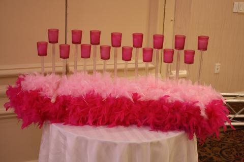 elevated votive candle feather candle lighting centerpiece