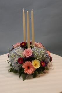 Spring pastels triple candle centerpiece