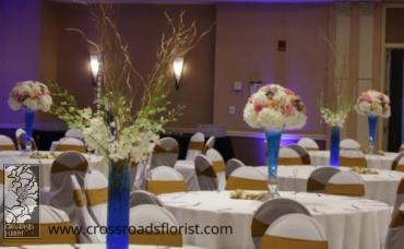 Hydrangea, rose blue pedestal high centerpiece (2)