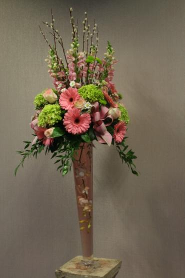 Pink & lime elevated spring centerpiece