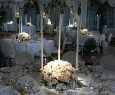 36 white rose centerpiece