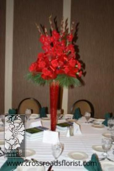 Elevated red centerpiece