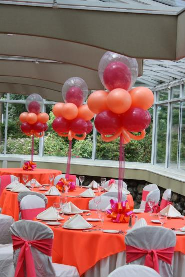 Hot pink & orange Double stuffed topiary