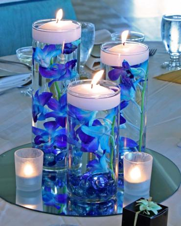 Blue orchid candles