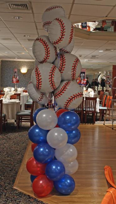 Baseball topped column bouquet