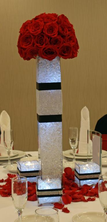 Rose ball tower centerpiece