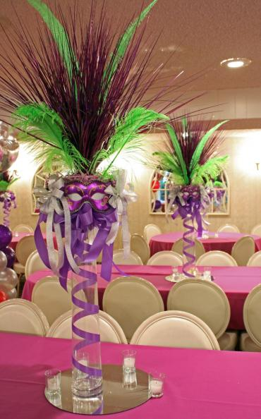 Mardi Gras mask centerpiece