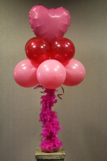 Pink Heart feather boa centerpiece