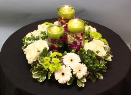 orchid candle wreath centerpiece