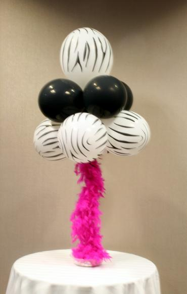 Zebra stripe & feather centerpiece
