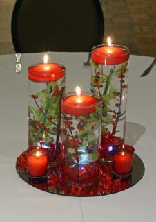 green & red floating orchid candles