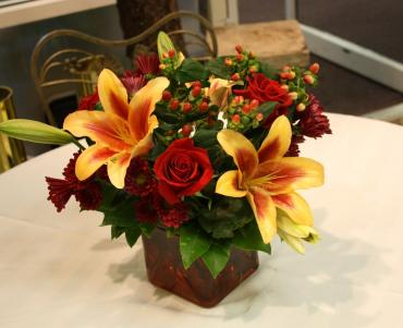 small autumn cube centerpiece