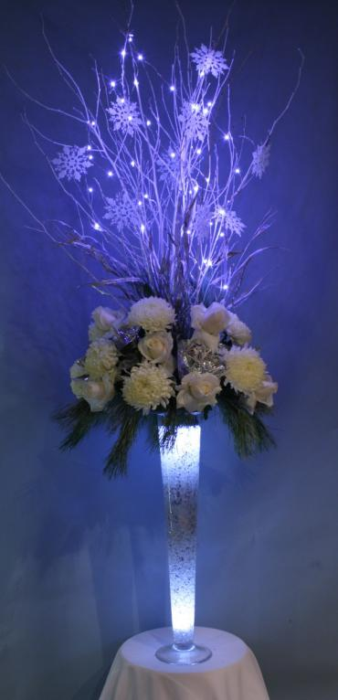 Tall winter illuminated centerpiece