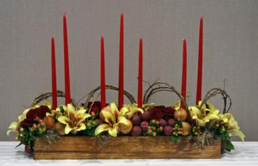 Long & low autumn centerpiece