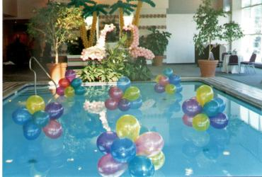 Flamingos.palm trees & pool balloons