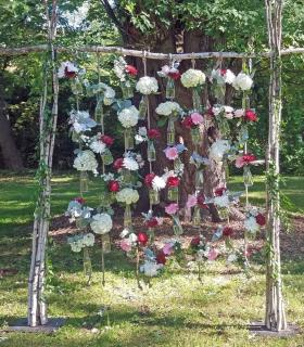 hanging bottles wedding back drop