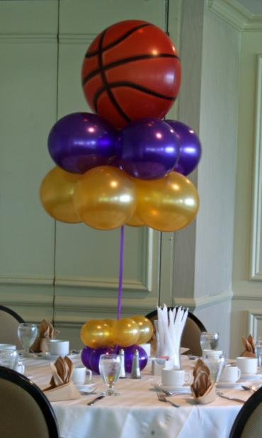 Basketball bubble topiary centerpiece