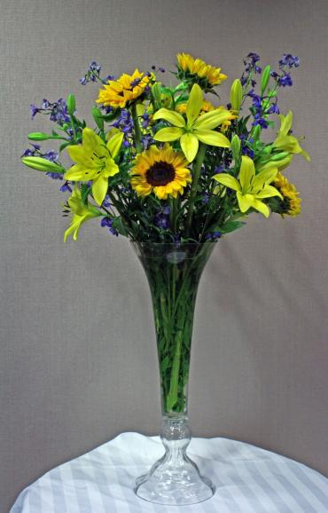 Tall vse yellow garden arrangement