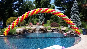 Red lime yellow spiral arch