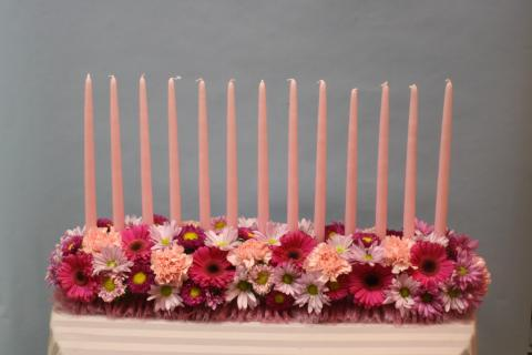 Random Flowers Candle lighting Centerpiece