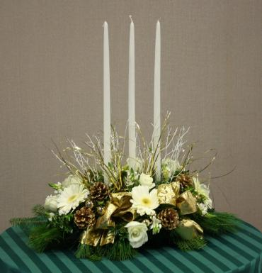 Long Gold & white holiday centerpiece