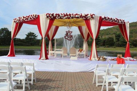 Red & white outdoor traditional Mandap