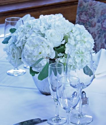 Shades of white mercury glass centerpiece