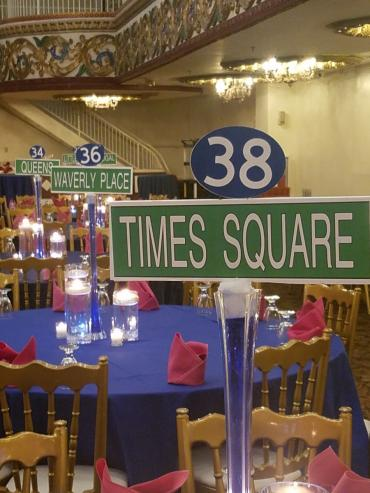 NYC street sign centerpieces