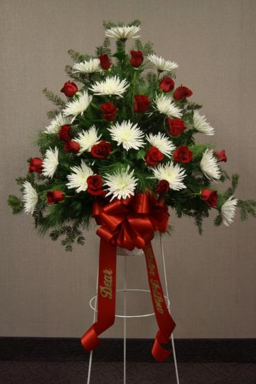 Red & White Tribute Standing basket