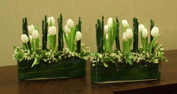 Tulips in a row long centerpiece