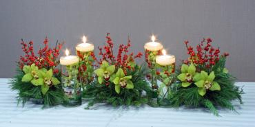 long floating candle holiday centerpiece
