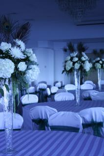 small white elevated centerpiece w/ peacock feathers