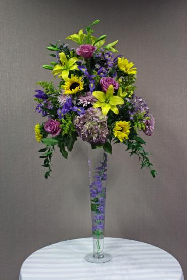 Purple & yellow garden tall centerpiece