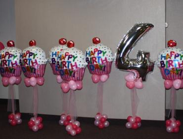 Cupcake balloon centerpiece