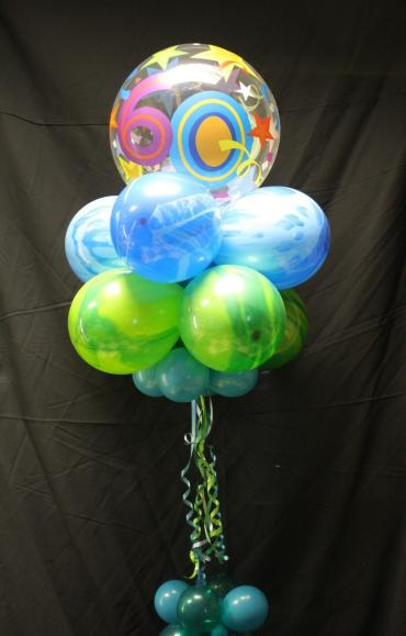 60th Birthday bubble top topiary