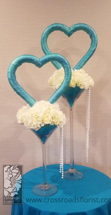 Tiffany Blue Heart Centerpieces