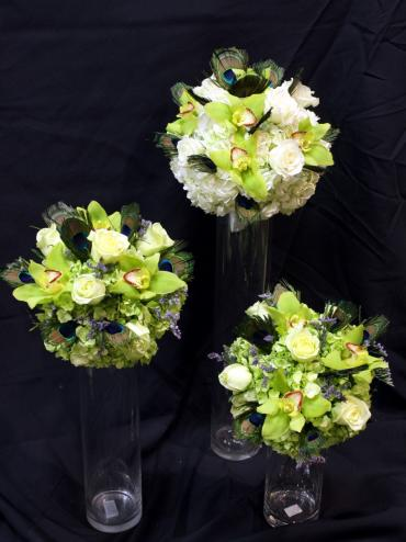 Peacock Feathers & Green Bouquets
