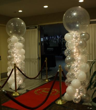 Crystal ball topped lighted column