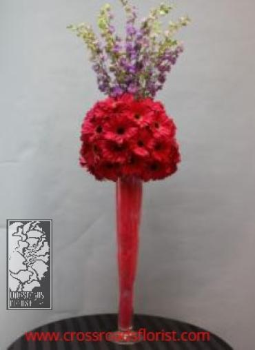 Funky gerberas elevated centerpiece