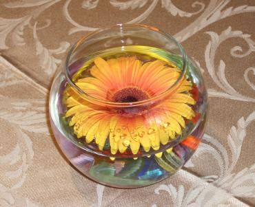 Floating gerbera cocktail table centerpiece