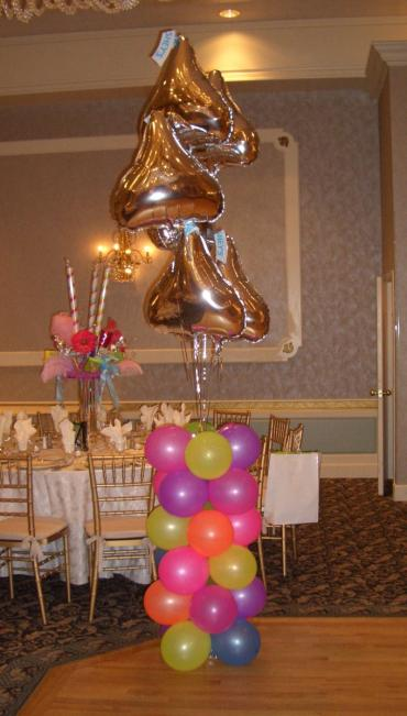 Candy Kiss topped column bouquet